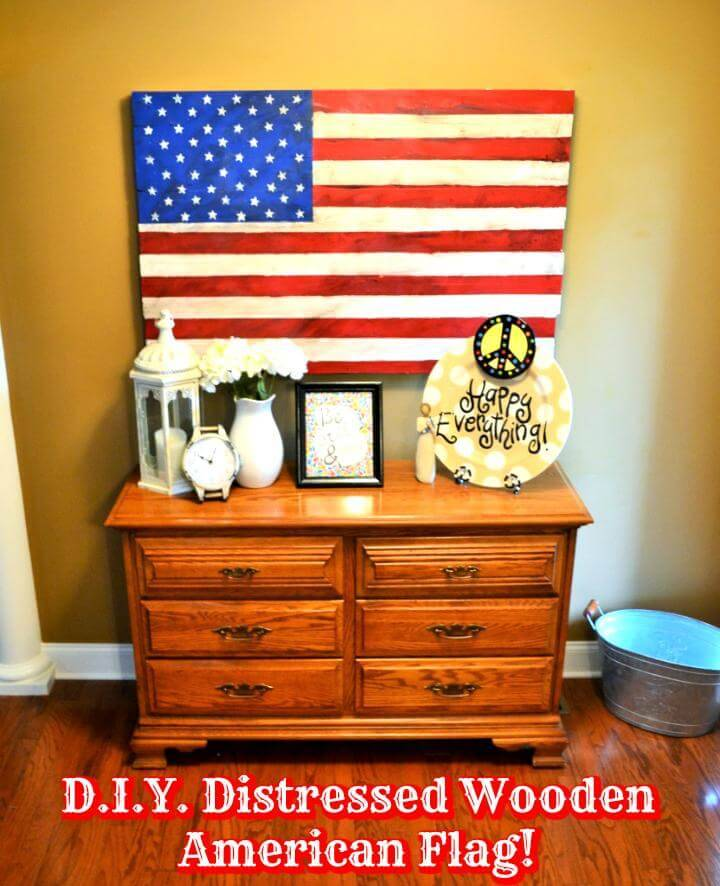 DIY distressed wooden American flag