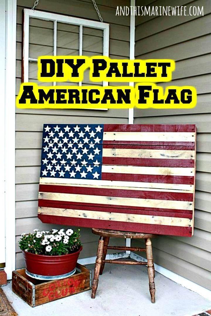 wooden pallet Amercian flag