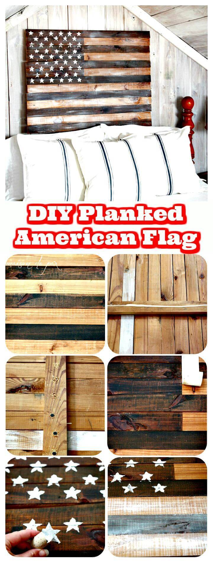 handmade planked wooden Amercican flag