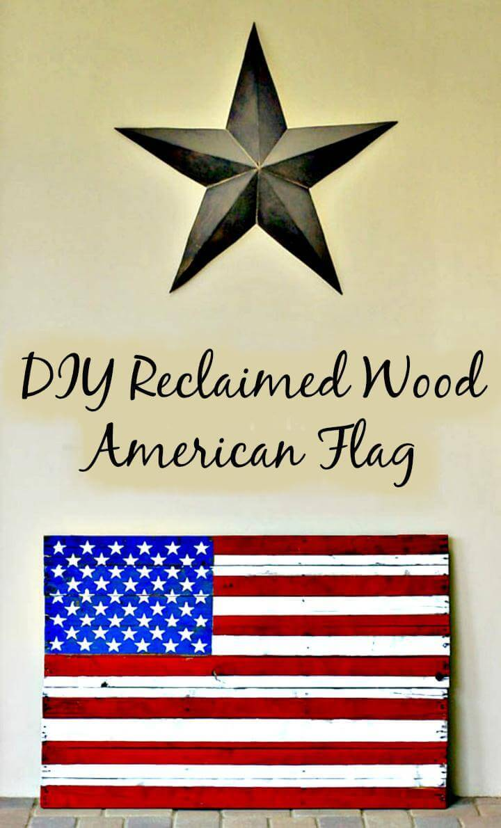 DIY reclaimed wood Amercian flag