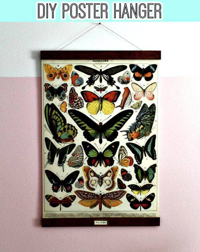 DIY pretty vintage poster frame for gretas butterflies
