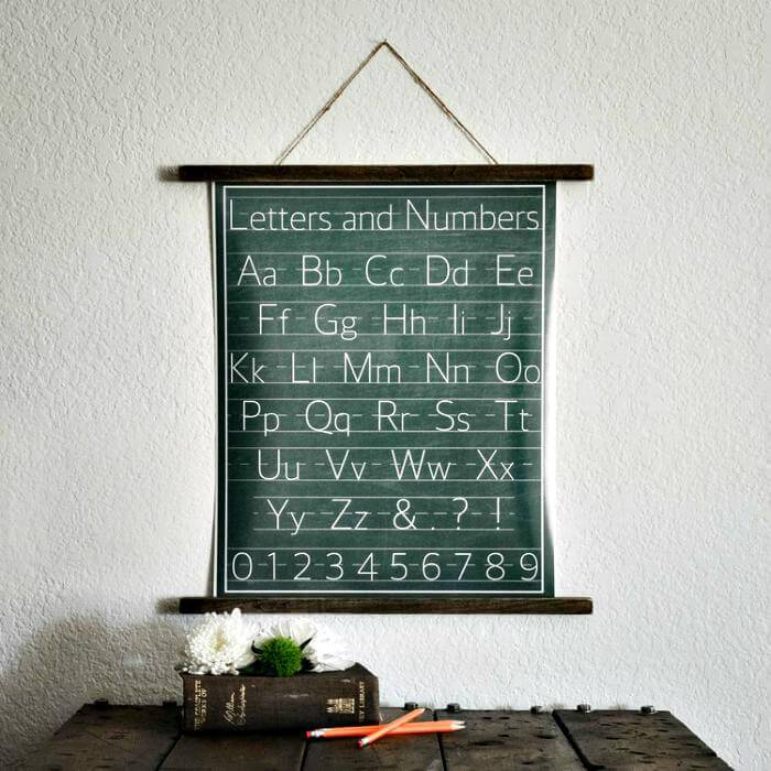 DIY vintage handwriting chart hanging print Tutorial