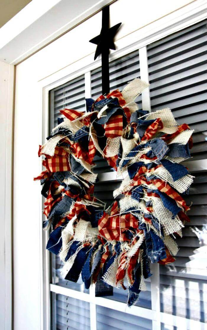 easy independence day rag wreath craft for 4th july