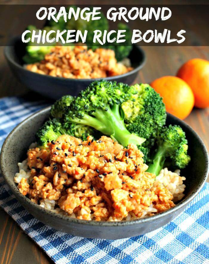 easy orange ground chicken rice bowls