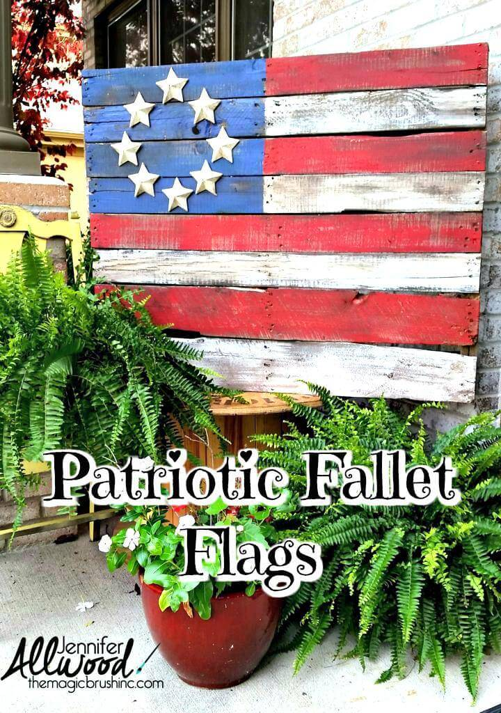 DIY pallet wood American flag with paper mache stars