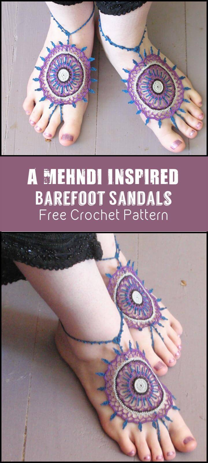 A Mehndi Inspired Barefoot Sandals Free Crochet Pattern