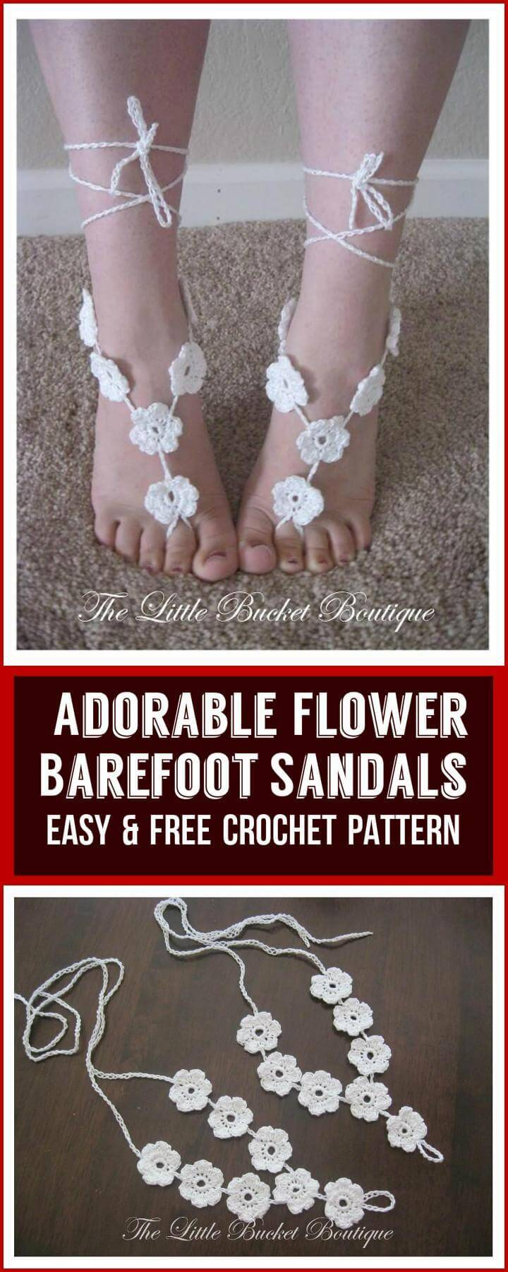 Adorable Flower  Barefoot Sandals Easy  Free Crochet Pattern