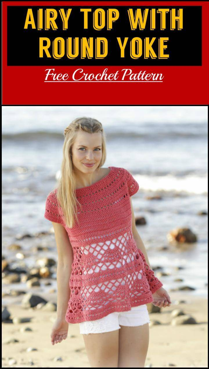 Airy Top with Round Yoke Free Crochet Pattern