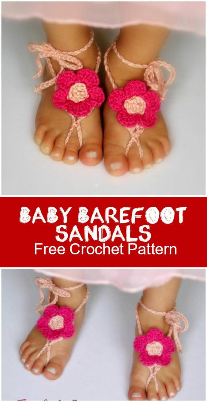 Baby Barefoot Sandals  Free Crochet Pattern