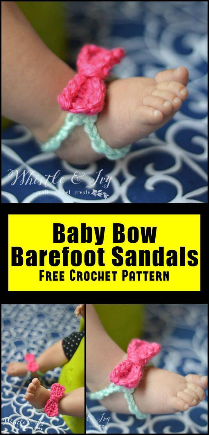 Baby Bow Barefoot Sandals Free Crochet Pattern