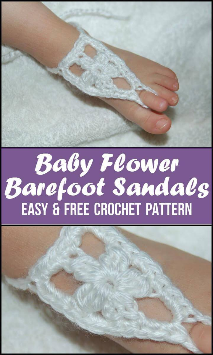 Baby Flower Barefoot Sandals Easy  Free Crochet Pattern
