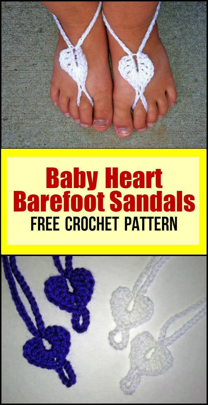Baby Heart Barefoot Sandals Free Crochet Pattern