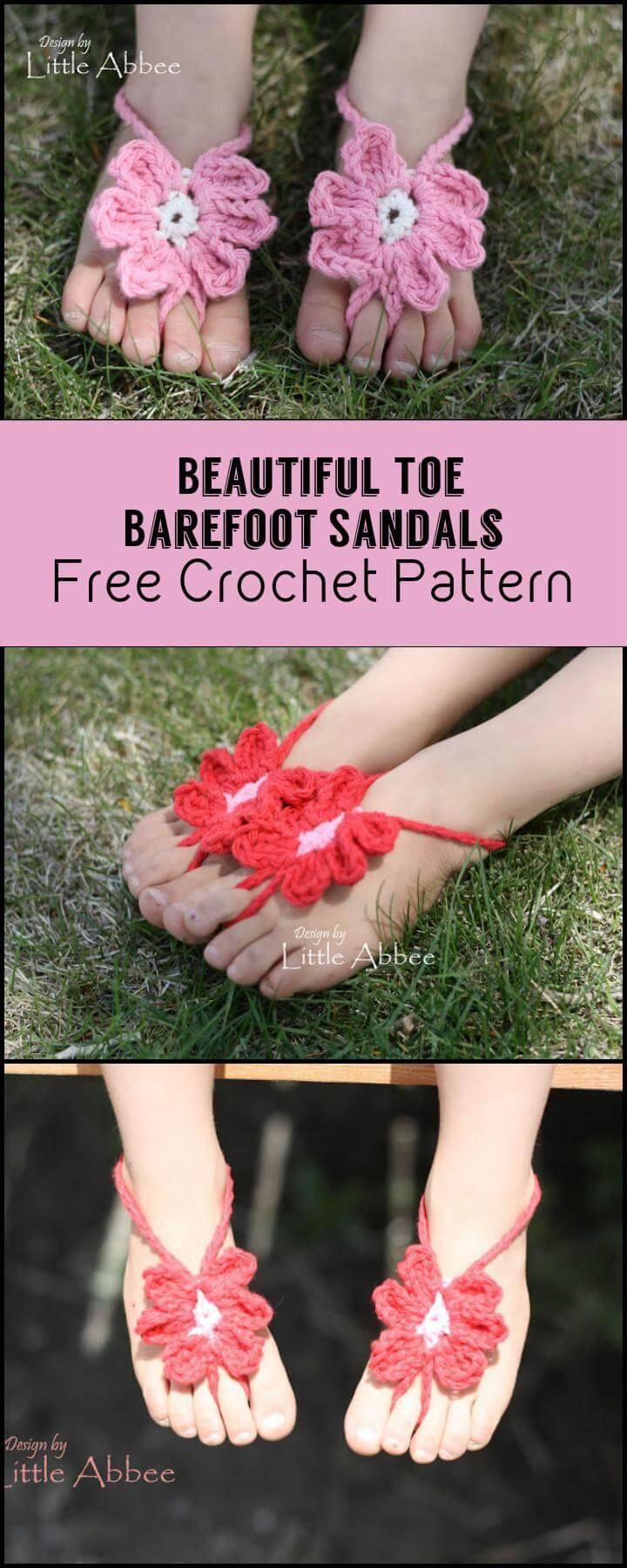 Beautiful Toe Barefoot Sandals Free Crochet Pattern