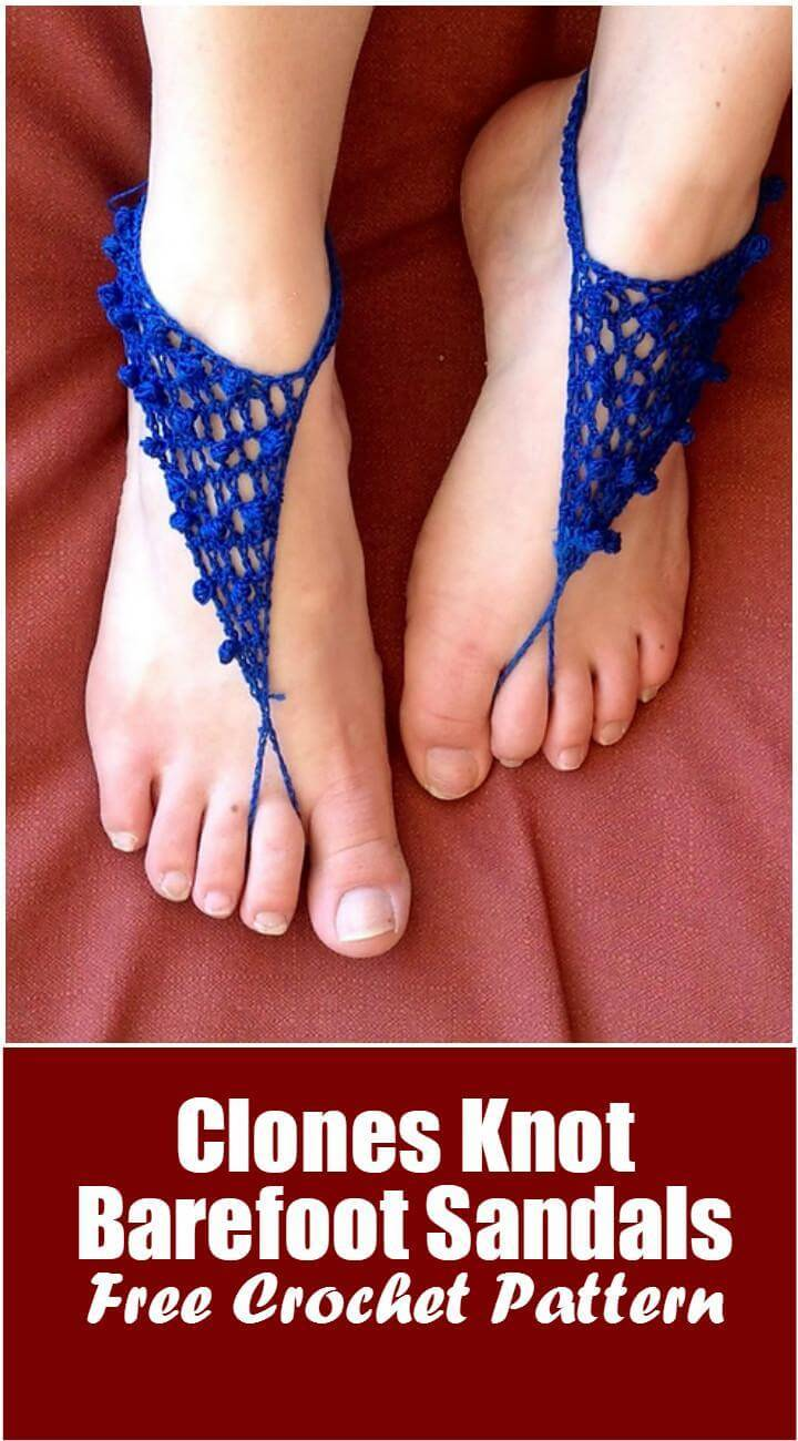 Clones Knot Barefoot Sandals Free Crochet Pattern