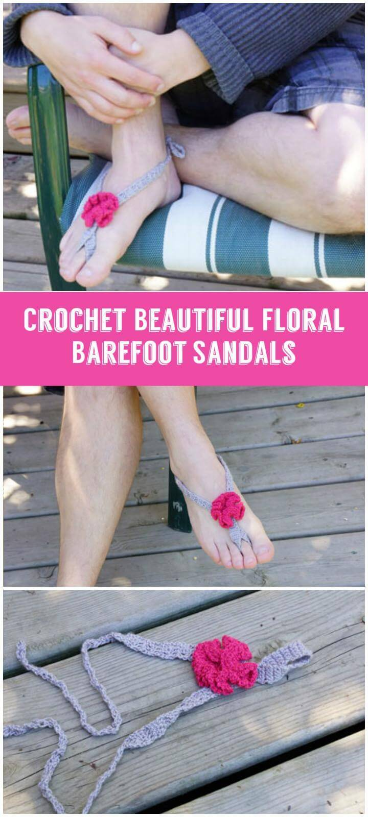 Crochet Beautiful Floral Barefoot Sandals