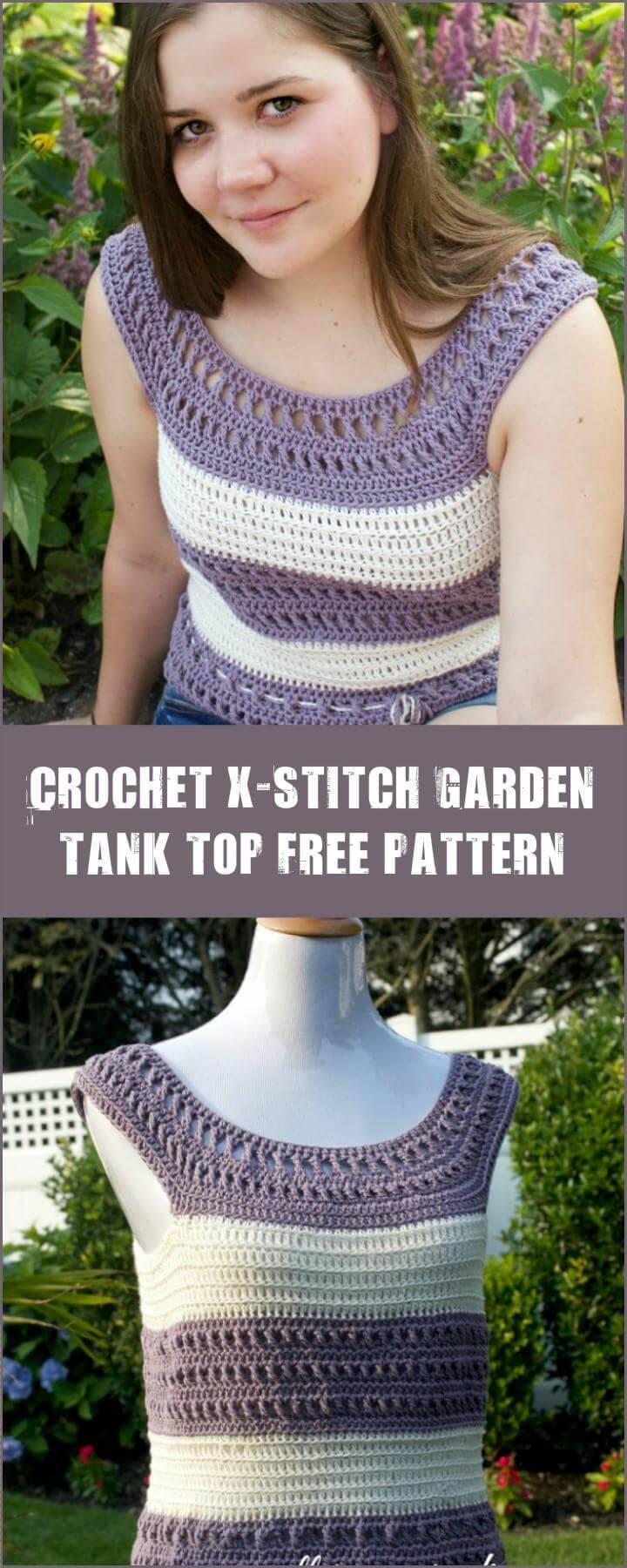 Crochet X-Stitch Garden Tank Top Free Pattern