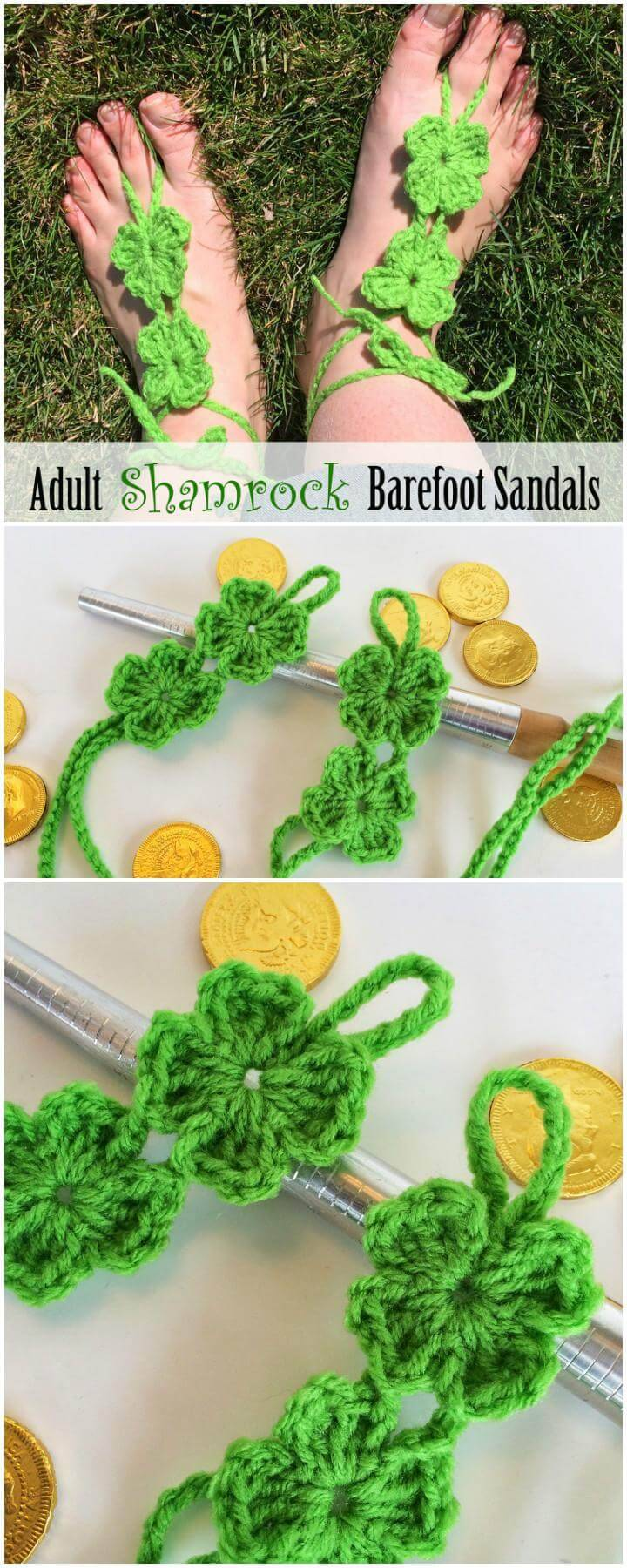 Crochet Adult Shamrock Barefoot Sandals