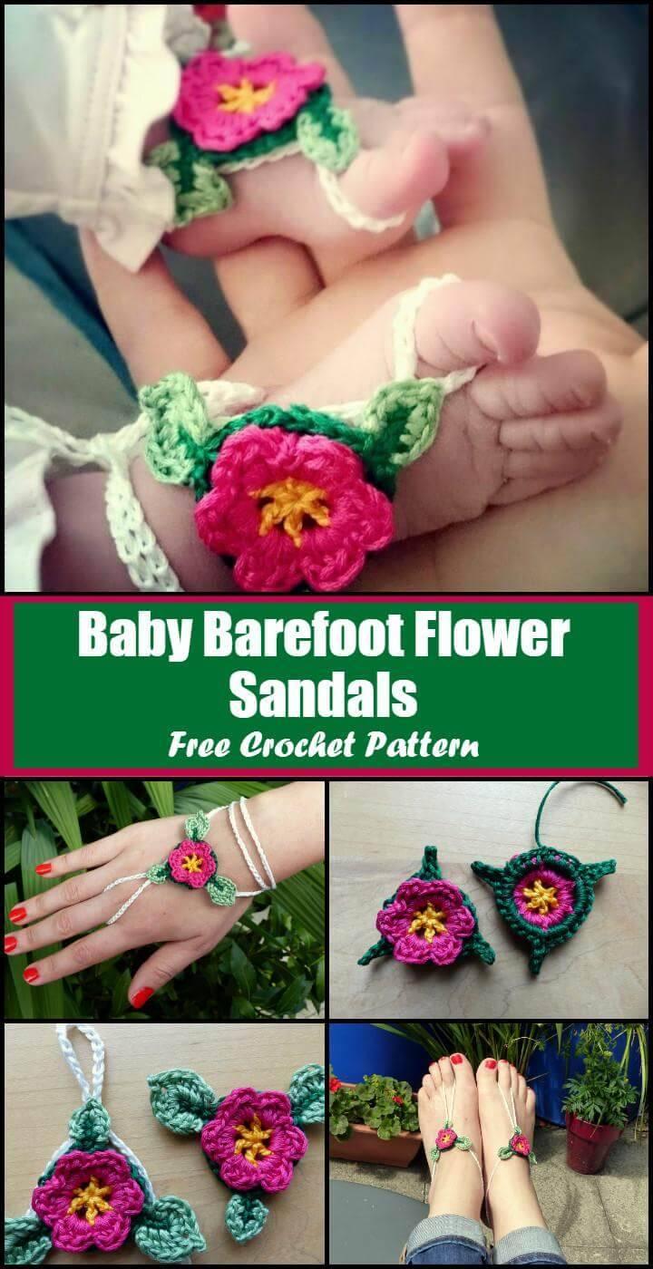 Crochet Baby Barefoot Flower Sandals