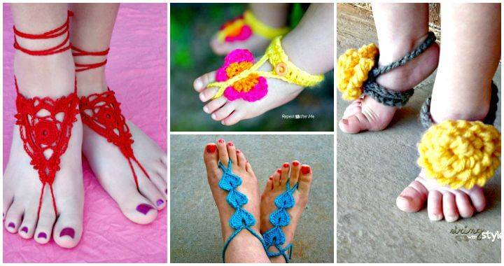 Crochet Barefoot Sandals - Free Crochet Patterns