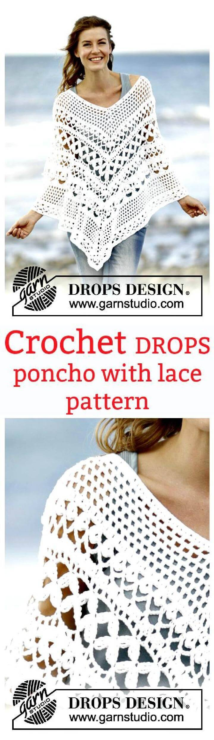 Crochet poncho with lace pattern