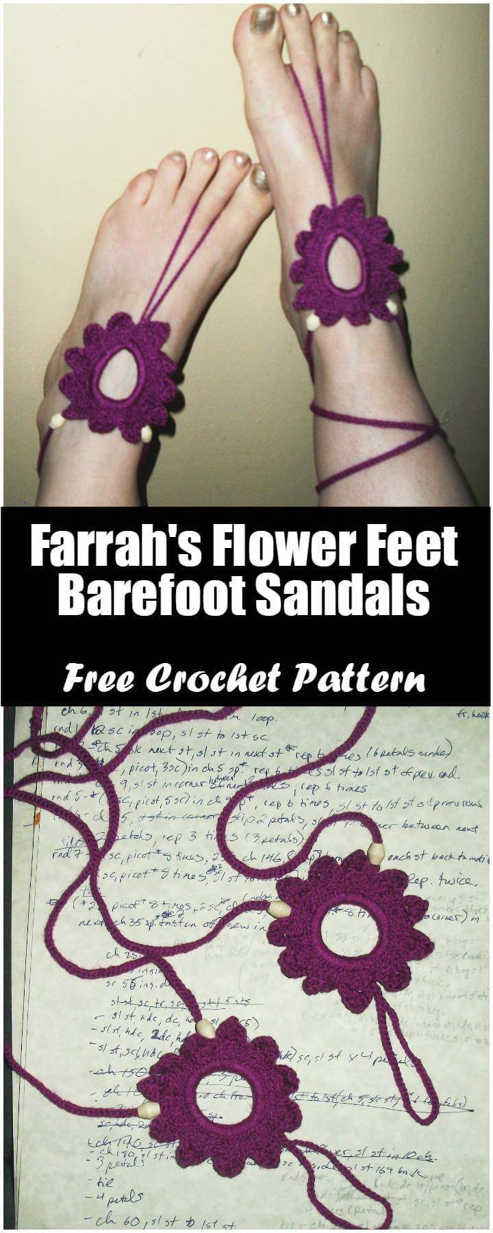 Crochet Farrah's Flower Feet Barefoot Sandals