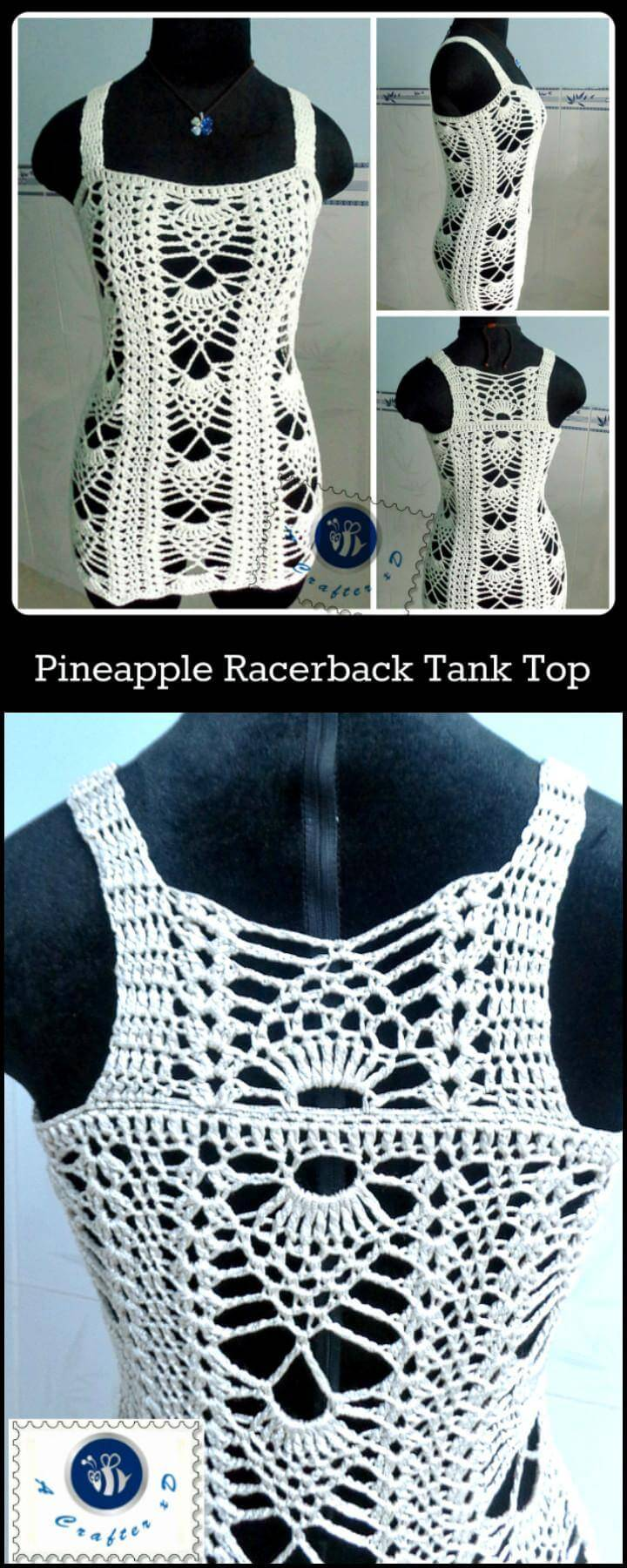 Crochet Pineapple Racerback Tank Top