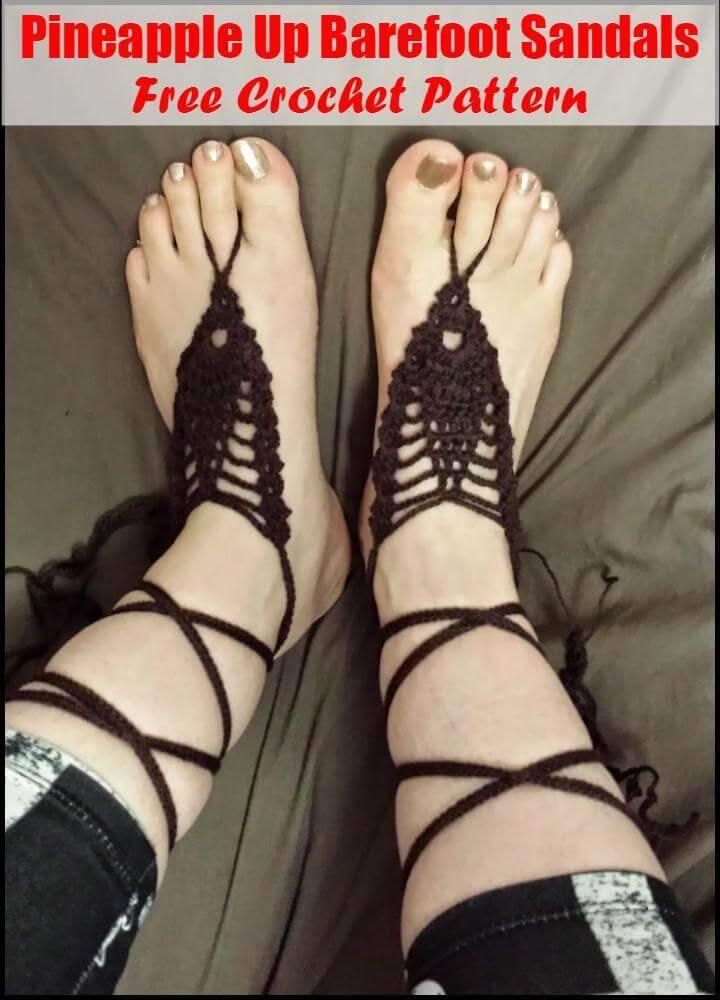Crochet Pineapple Up Barefoot Sandals