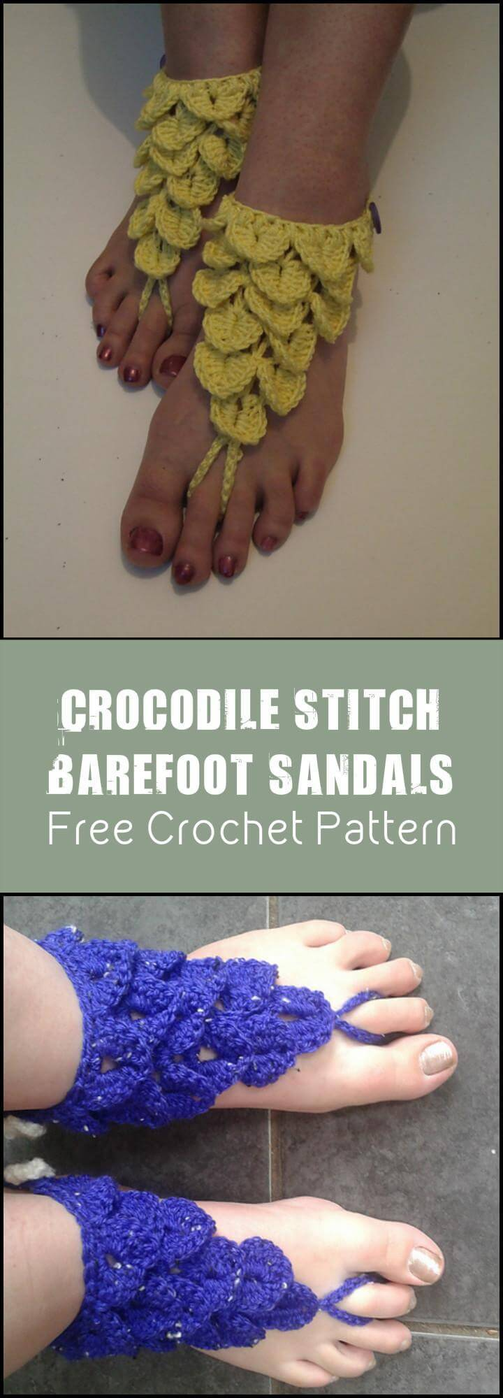 Crocodile Stitch Barefoot Sandals Free Crochet Pattern