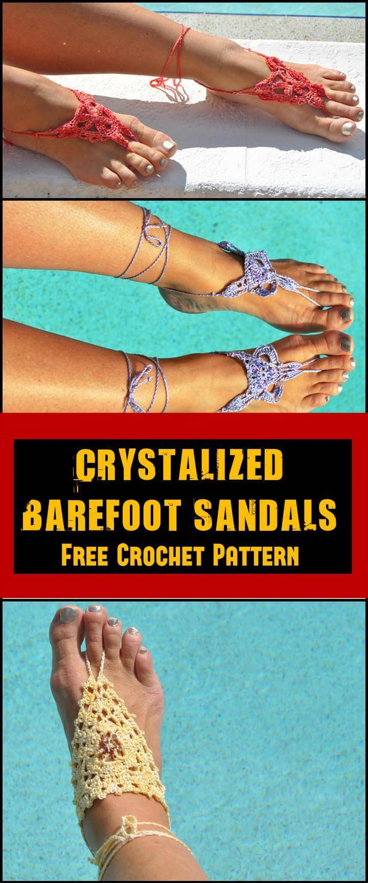Crystalized Barefoot Sandals Free Crochet Pattern