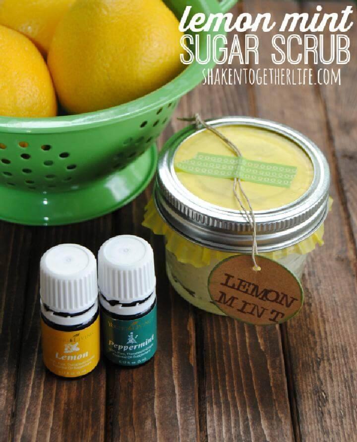 DIY 5 Ingredient Lemon Mint Sugar Scrub