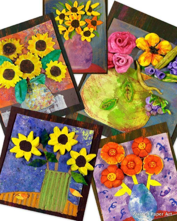 DIY Amazing Painted Paper and Clay Flower Art
