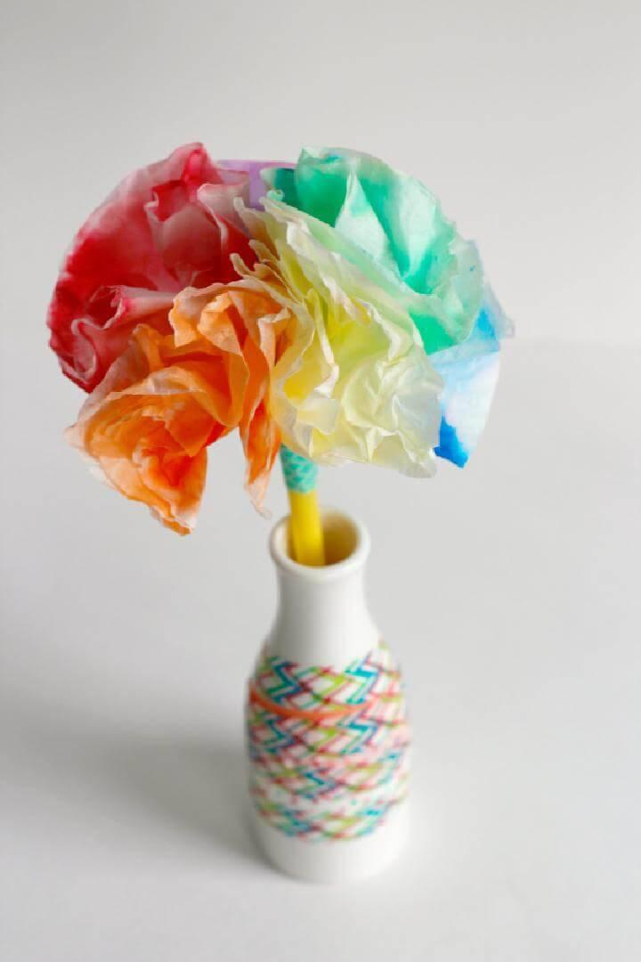 DIY Beautiful Coffee Filter Rainbow Bouquet