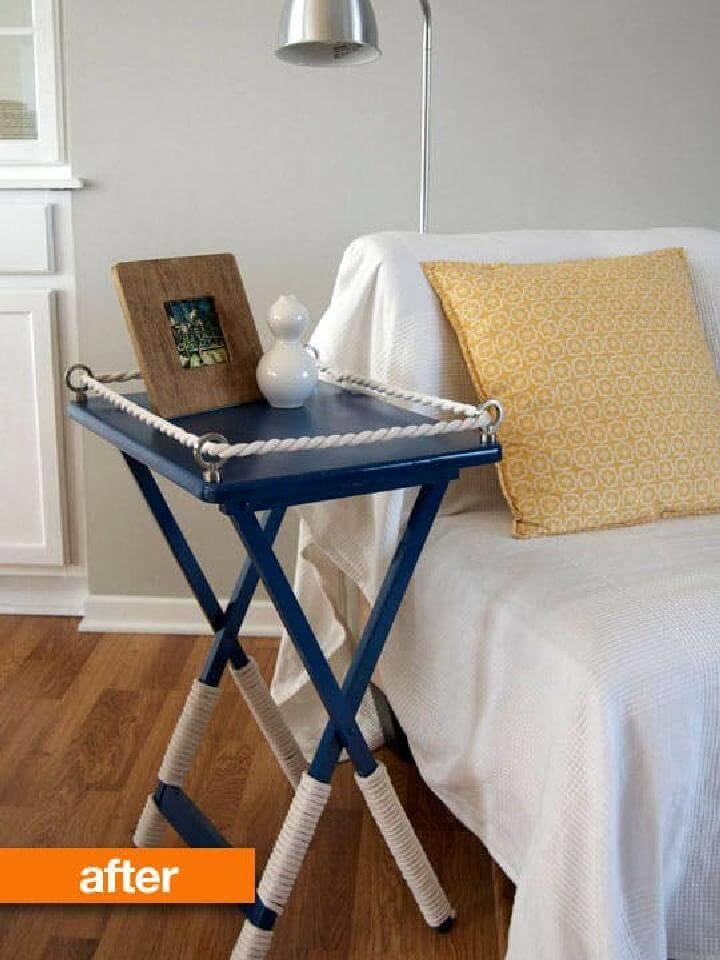 DIY Beautiful TV Tray Rope Table