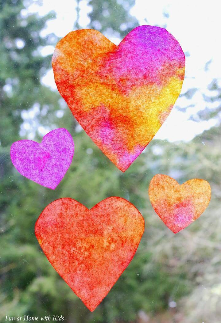 DIY Coffee Filter Colorful Heart Suncatchers