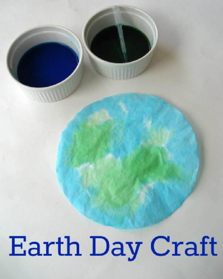 DIY Coffee Filter Earth - Earth Day Kid's Craft