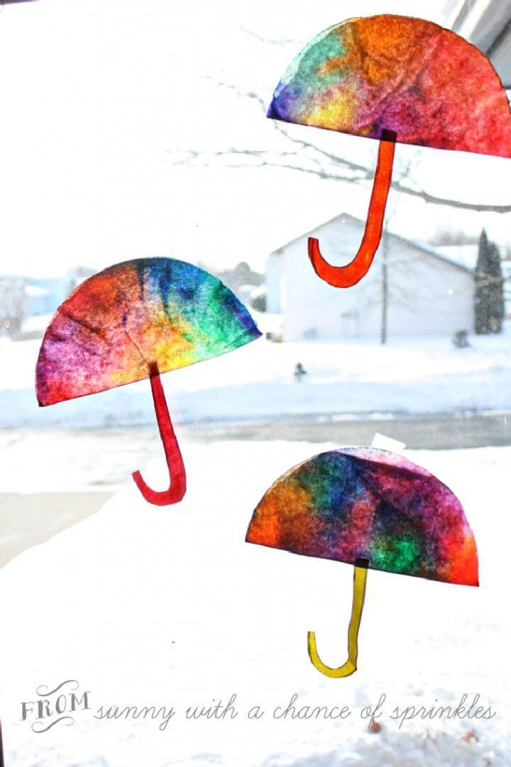 DIY Coffee Filter Umbrella Suncatchers
