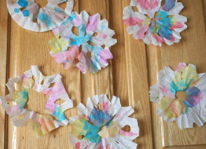 DIY Colorful Coffee Filter Snowflakes