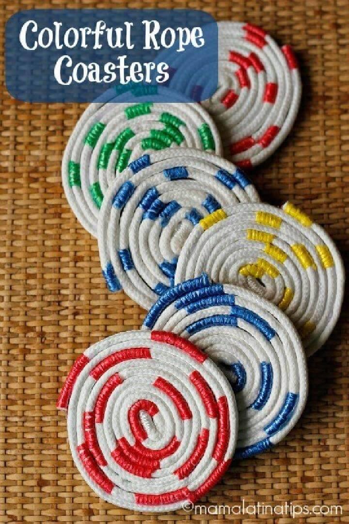 DIY Colorful Rope Coasters