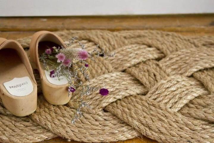 DIY Creative Woven Rope Doormat