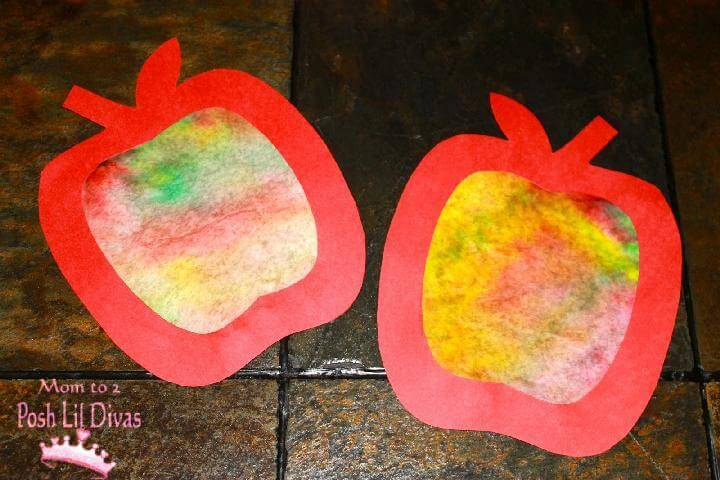 DIY Easy Coffee Filter Apple Art