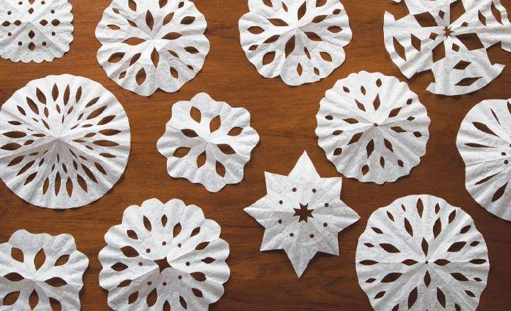 DIY Easy Coffee Filter Snowflakes