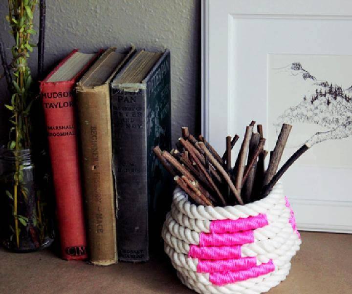 Handmade DIY Easy Color Block Coiled Rope Basket