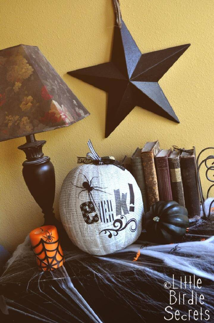 DIY Easy Decoupage Halloween Pumpkin