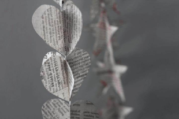 DIY Easy Newspaper Heart Garland