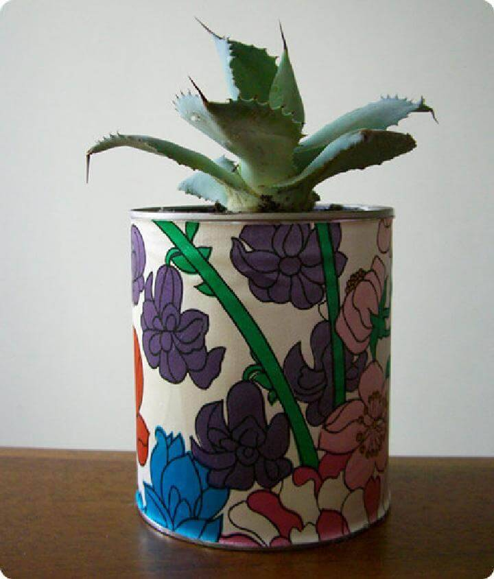 DIY Fabric Wrapped Paint Can Planter
