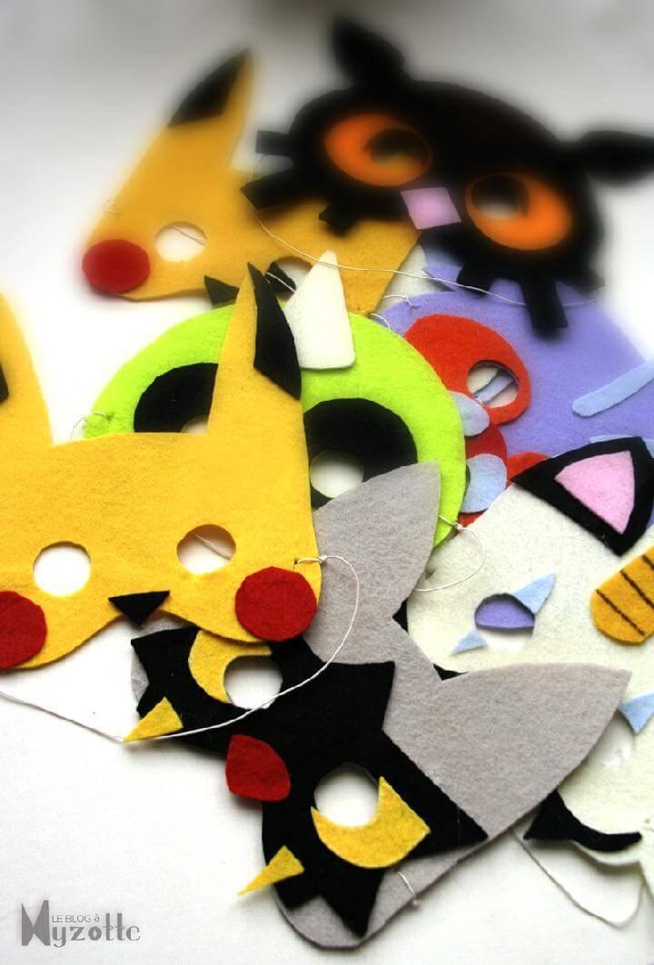 DIY Felt and Elastic Thread Pokemon Masks