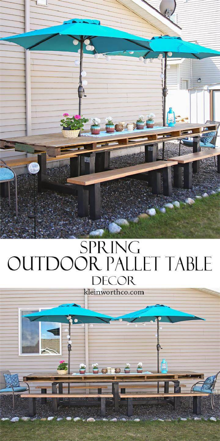 DIY Gorgeous Spring Outdoor Pallet Table Decor