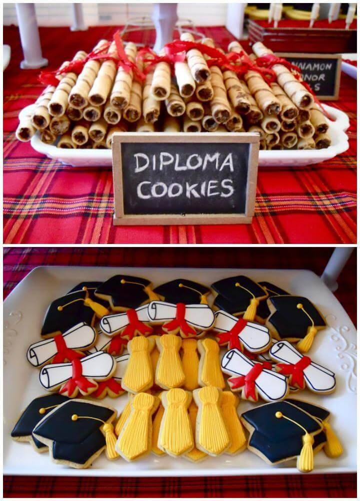 DIY Graduation Party Diploma Cookies