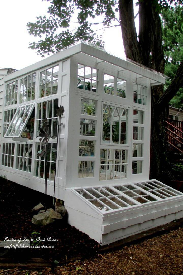 80 diy greenhouse ideas with step by step tutorials diy for Reclaimed window greenhouse