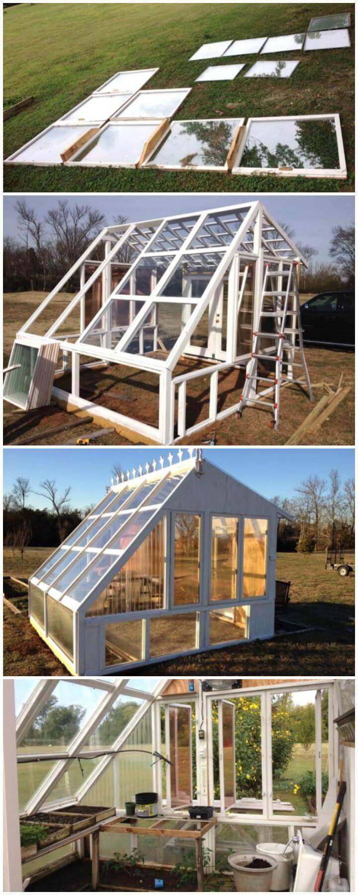 DIY Greenhouse Made of Old Windows